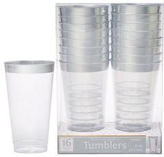 Premium Plastic Tumblers - Clear w/Silver Trim, 16oz - 16ct