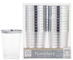 Silver Trim Tumbler, 10oz - 20ct