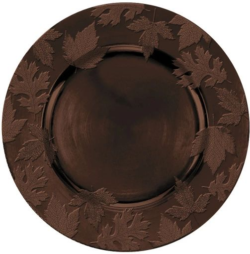 Round Embossed Charger Brown Melamine