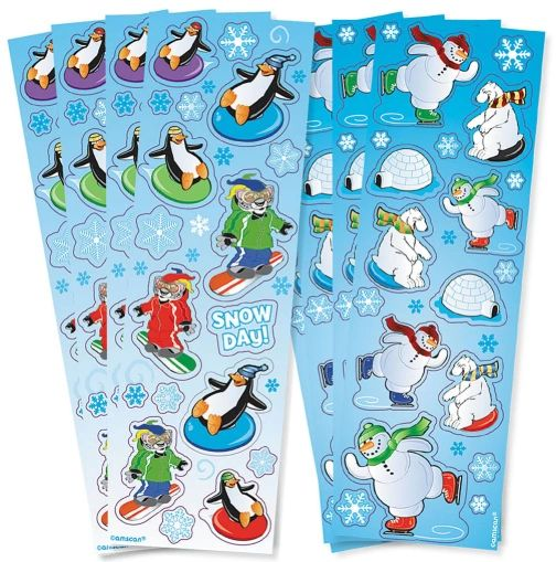 Winter Fun Printed Paper Strip Sticker, 8 Sheets