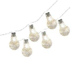 Glitter Edison Bulb Battery Operated LED String Lights, 6ft