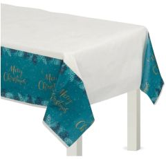 Very Merry Teal Paper Table Cover