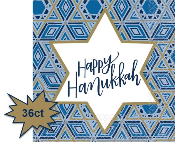 Hanukkah Festival of Lights Luncheon Napkins, 36ct