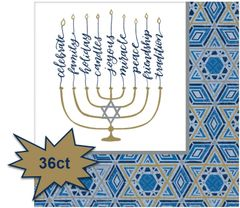Hanukkah Festival of Lights Dinner Napkins, 36ct