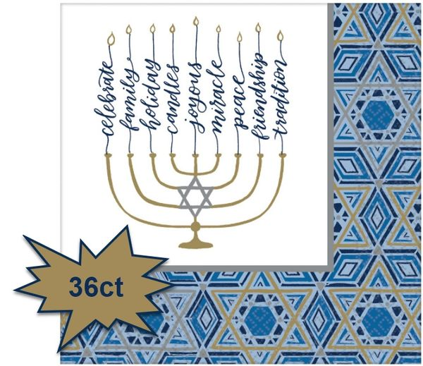 Hanukkah Festival of Lights Dinner Napkins, 36ct