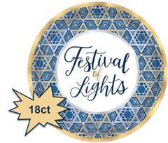 "Hanukkah Festival of Lights Round Metallic Dessert Plates, 7"" - 18ct"
