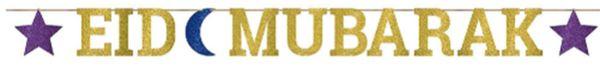 Eid Mubarak Glitter Ribbon Letter Banner