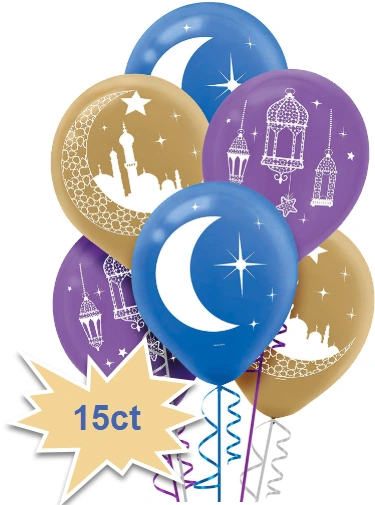 Eid Celebration Printed Latex Balloons, 15ct