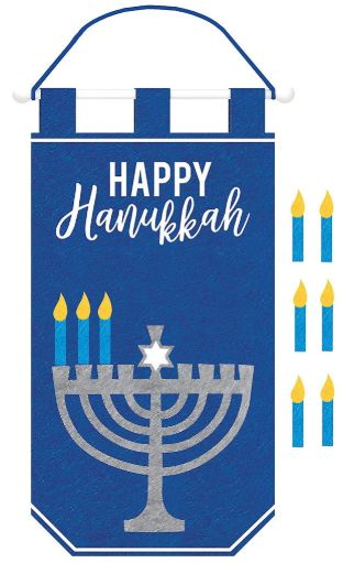 Hanukkah Banner w/Candle Add-Ons, Rod & Rope Hanger