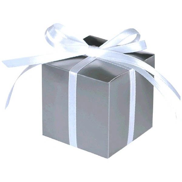 Silver Square Favor Boxes, 100ct