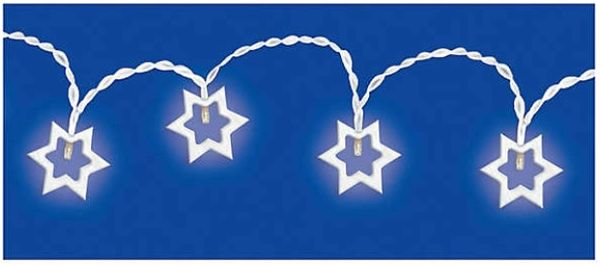 Wooden Star Of David LED String Lights
