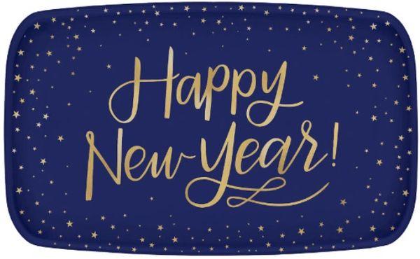 Midnight New Year's Eve Rectangular Coupe Plastic Platter