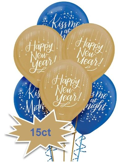 Midnight New Year's Eve Balloons, 15ct