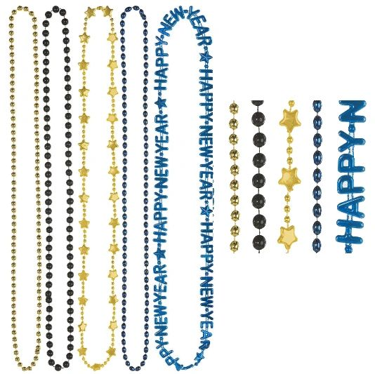 Midnight Happy New Year Beads, 5ct