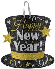 Happy New Year Medium Glitter Sign - Black, Silver & Gold