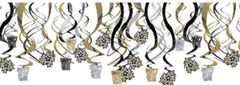 Hanging Foil Swirl Decorations - Black, Silver & Gold, 30ct