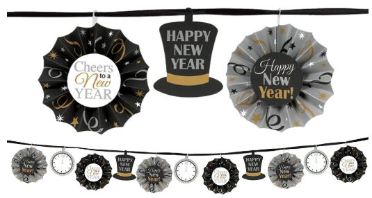 Happy New Year Fan Banner Garland - Black, Silver & Gold, 12ft