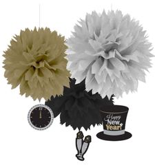 Happy New Year Fluffy Hanging Decorations w/Dangler - Black, Silver & Gold, 3ct