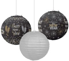 Happy New Year Lanterns - Black, Silver & Gold, 3ct