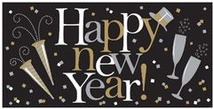 Happy New Year Large Horizontal Banner - Black, Silver & Gold