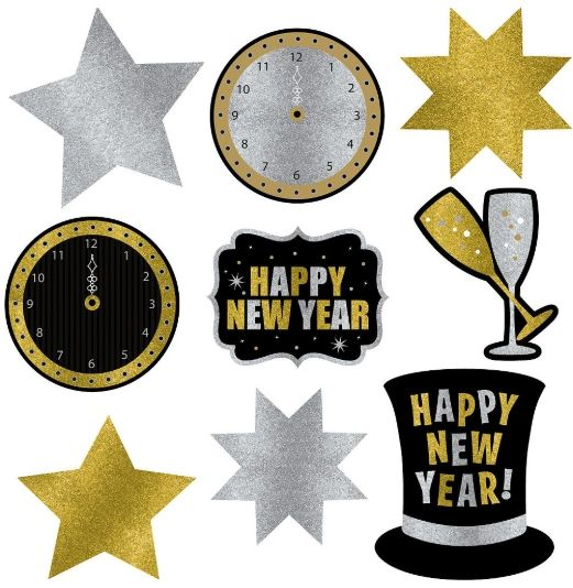 New Year's Glitter Paper Assorted Cutouts, 9ct