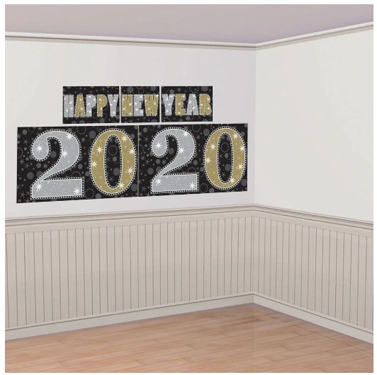 2020 New Year's Scene Setters® Decorating Kit - Black, Silver, Gold, 5pc