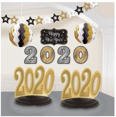 2020 New Year's Room Decorating Kit - Black, Silver, Gold, 10ft - 10pc