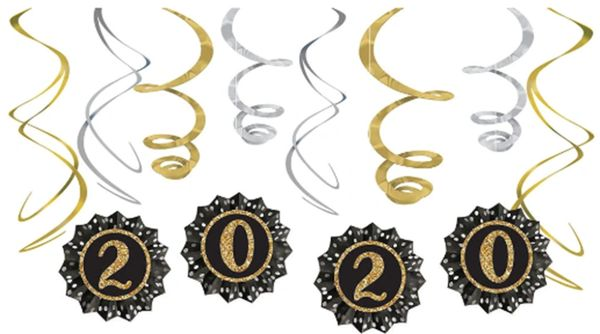2020 New Year's Fan And Swirl Decorating Kit - Black, Silver, Gold, 12pc