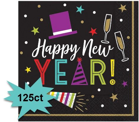 Bright New Year's Eve Luncheon Napkins, 125ct