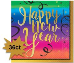 Colorful New Year Beverage Napkins, 36ct