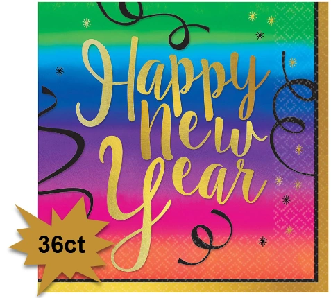 Colorful New Year Luncheon Napkins, 36ct