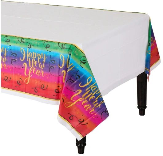 Colorful New Year Plastic Table Cover