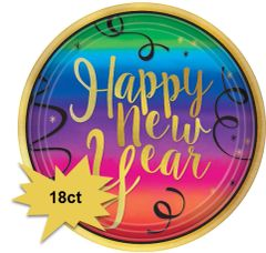 "Colorful New Year Round Dinner Plates, 10 1/2"" - 18ct"