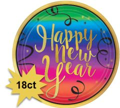 "Colorful New Year Round Dessert Plates, 7"" - 18ct"