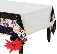 Ring in the New Year Plastic Table Covers, 3ct