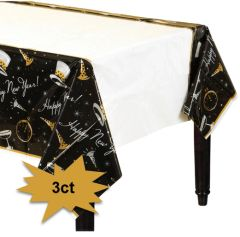 Black Tie Affair SuperValue Plastic Table Covers, 3ct
