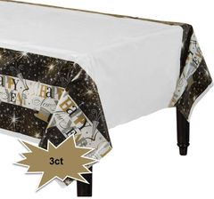 Elegant Celebration Plastic Table Covers, 3ct