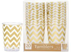 Gold Chevron Printed Plastic Tumblers, 10oz - 20ct