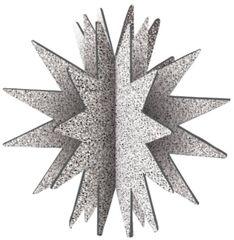 3D Glitter Starburst Decoration - Silver