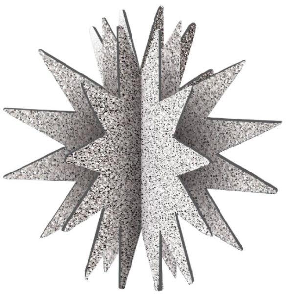3D Glitter Starburst Decoration - Silver