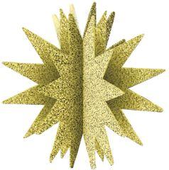 3D Glitter Starburst Decoration - Gold
