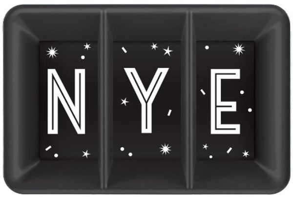 New Year's Eve Plastic Compartment Tray - Black, Silver, Gold