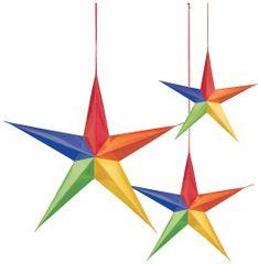 Hanging 3D Stars - Rainbow, 3ct