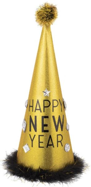 Happy New Year Super Tall Cone Hat - Gold