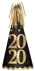 """2020"" Foil Cone Hat - Black, Silver, Gold"