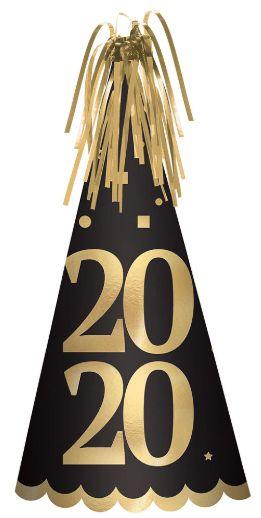"""""""2020"""" Foil Cone Hat - Black, Silver, Gold"""