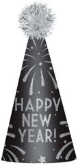 Happy New Year Cone Hat - Silver Glitter
