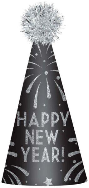 Happy New Year Cone Hat - Silver Glitter