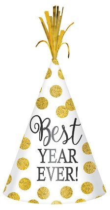 New Year's Cone Hat - White/Gold Dots