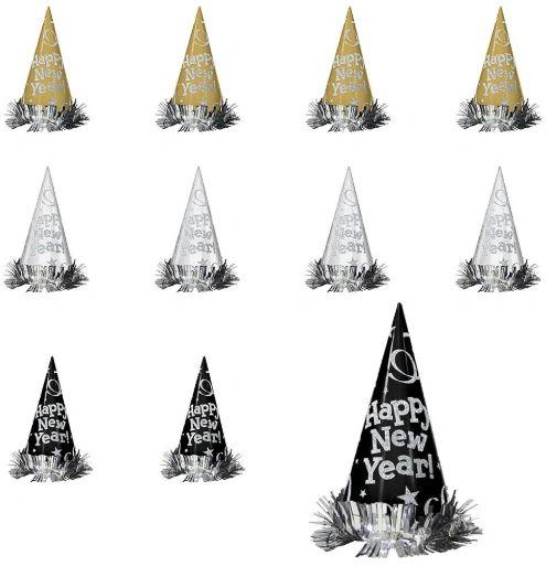 Metallic Glitter Paper Cone Hats - Black Silver Gold, 12ct